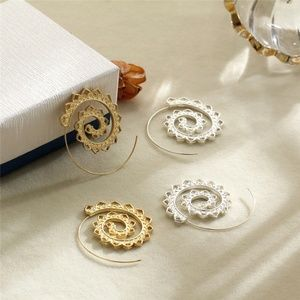 Amourjoux Jewelry - Silver Tribal spiral hoop boho swirl earrings